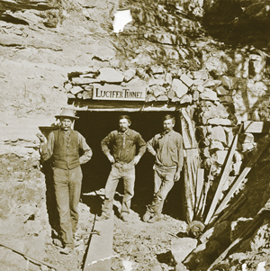 CCC Ditch Workers & the Lucifer Tunnel. (Courtesy of Rimrocker Historical Society.)