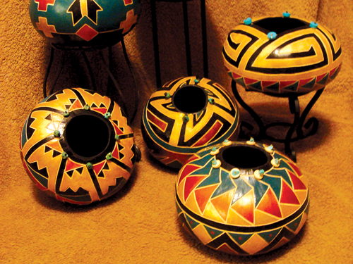 Painted gourds, by Patricia Carroll. Enchanted Mesa Gallery.