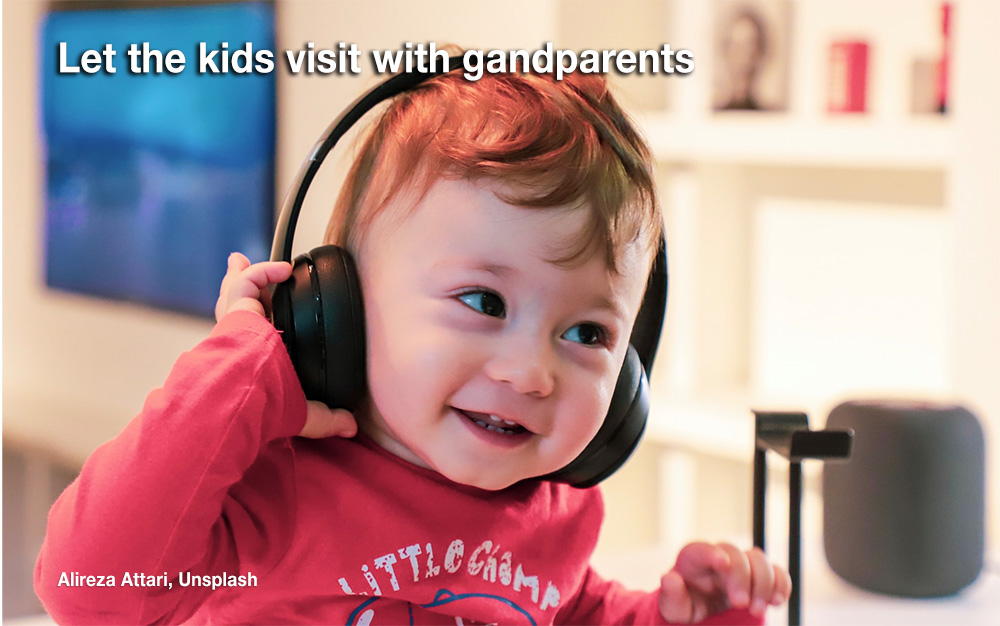 Kids chat with grandparents