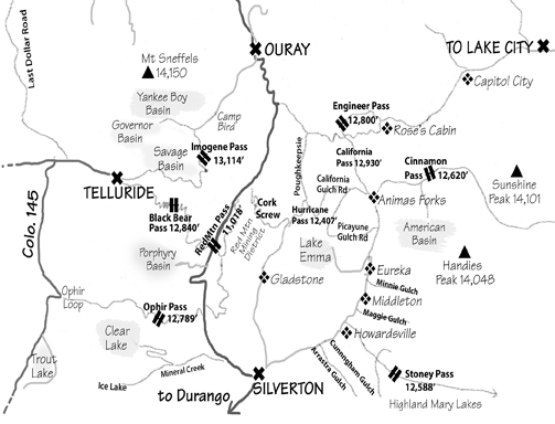 Map of 4-wheel drive trails in San Juan Mountains/