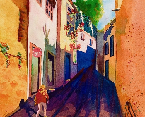 """Una Calle Viejo"" watercolor by Cheri Isgreen"